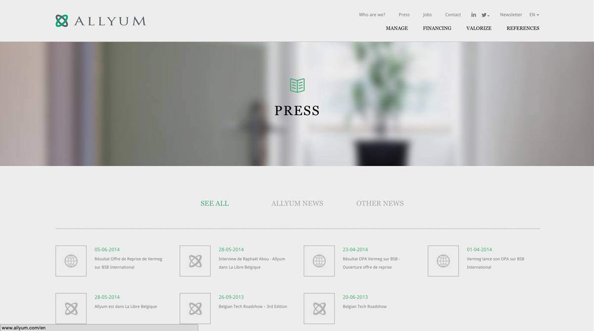 allyum corporate finance responsive website screenshot
